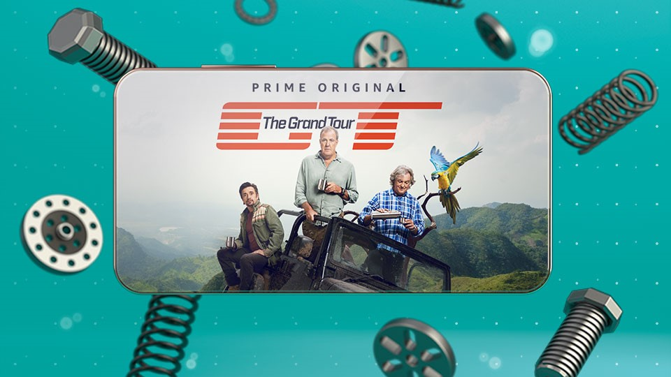 The Grand Tour on Amazon Prime Video displayed on the back of a smartphone
