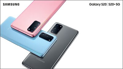 Samsung Galaxy S20 and S20+ in pink, blue and grey